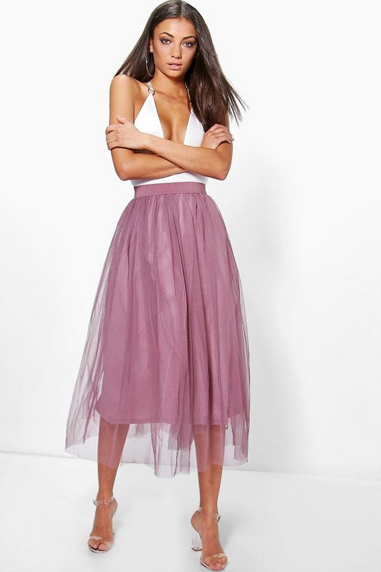 Womens Mauve Tall Boutique Tulle Mesh Midi Skirt