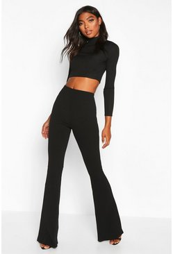 Womens Black Tall Basic Stretch Skinny Flares