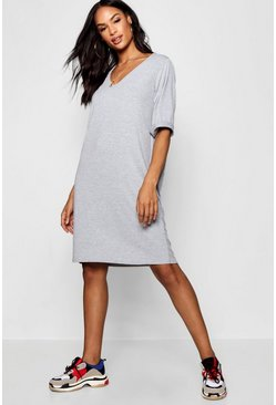 Womens Grey Tall Turn Cuff Oversized T-Shirt Dress