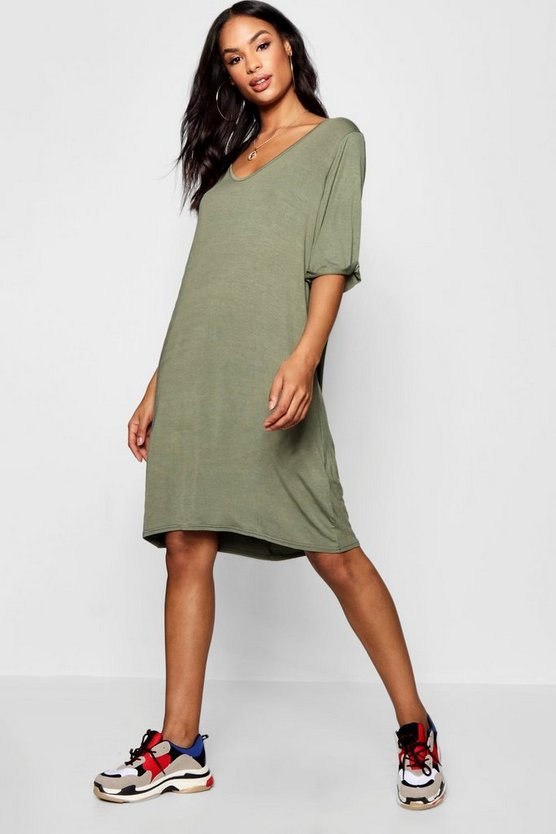 Womens Khaki Tall Turn Cuff Oversized T-Shirt Dress