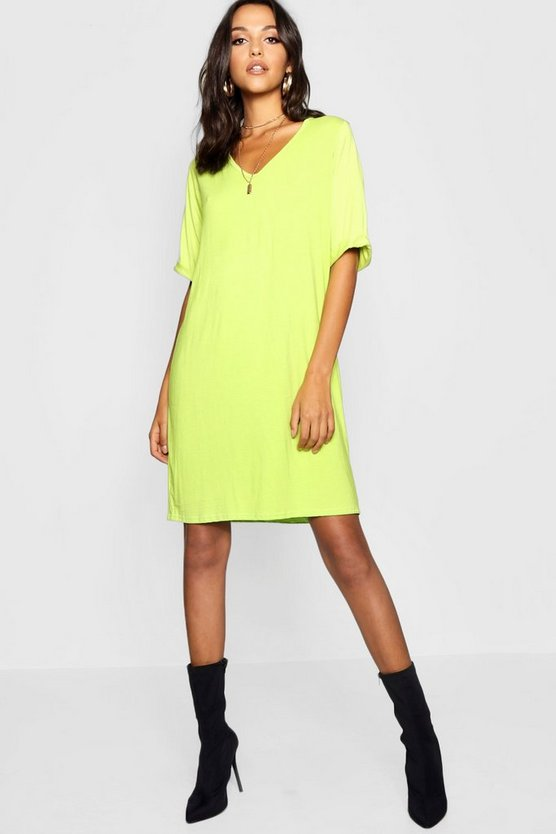 Womens Lime Tall Turn Cuff Oversized T-Shirt Dress