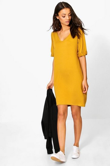Womens Tall Turn Cuff Oversized T-Shirt Dress