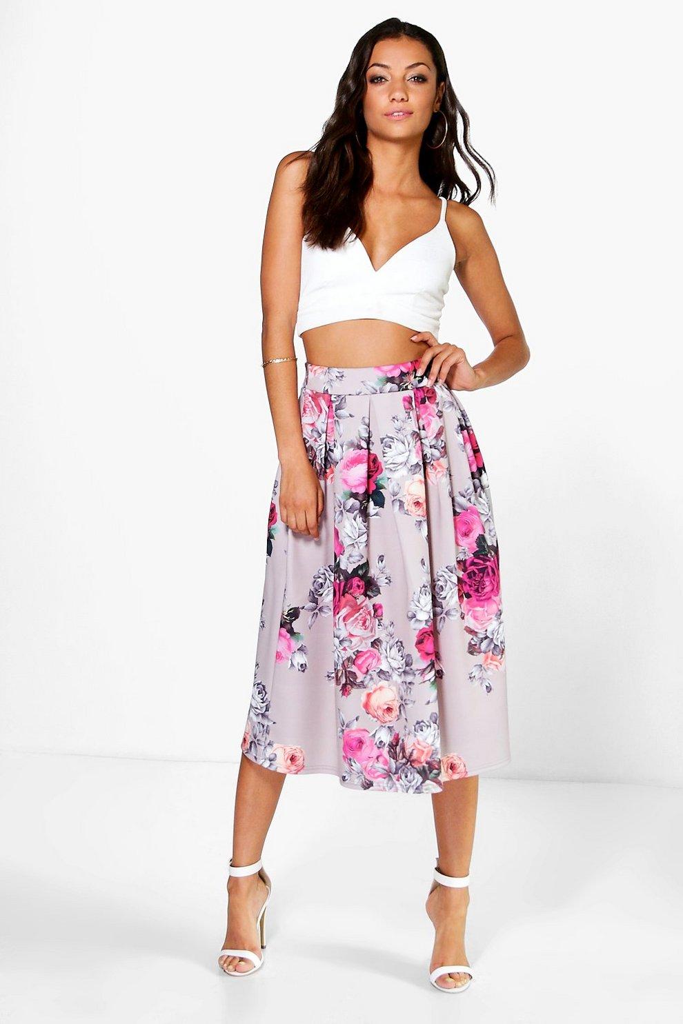 f9b07d7b76 Tall Elena Floral Print Scuba Midi Skirt | Boohoo