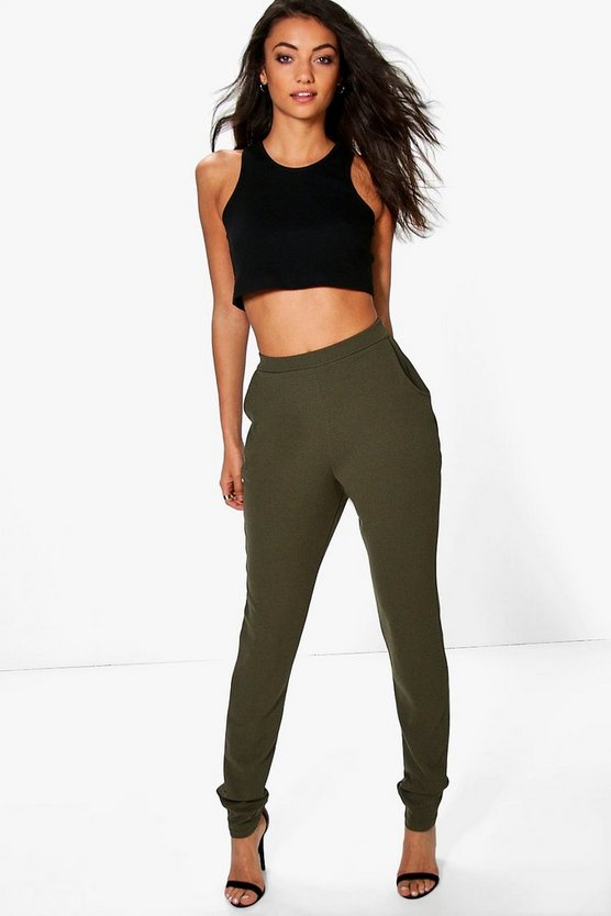 Womens Khaki Tall Skinny Crepe 2 Pocket Pants