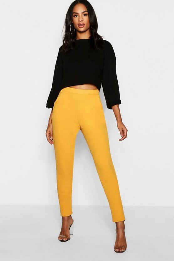 Womens Mustard Tall Skinny Crepe 2 Pocket Trousers