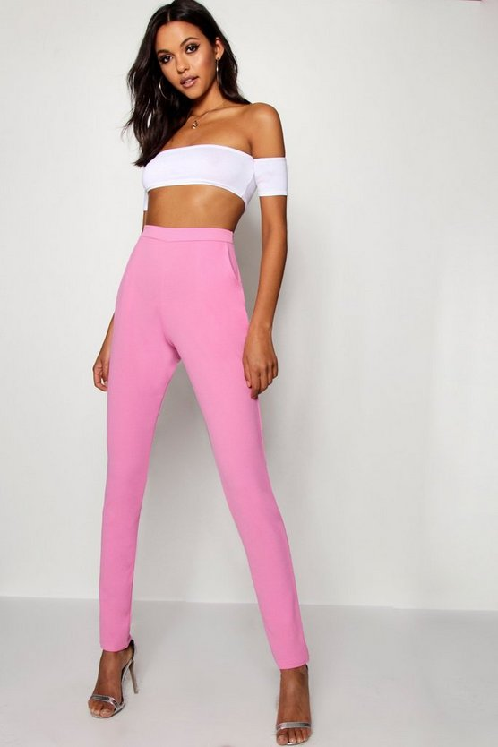 Womens Powder pink Tall Skinny Crepe 2 Pocket Trousers