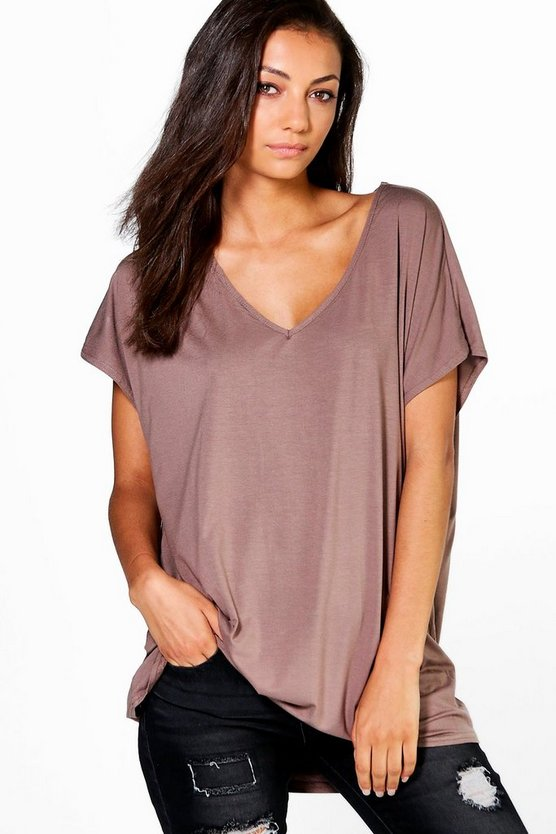 Womens Mocha Tall Oversized V Neck Basic Tee