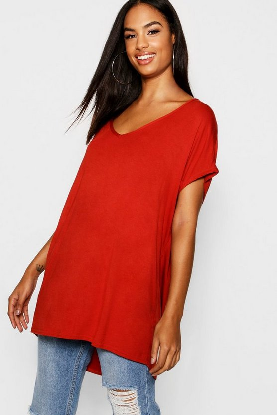 Tall Oversized V Neck Basic Tee