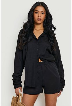 Black Tall  Linen Look Oversized Shirt