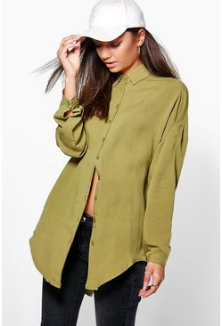 Olive Tall  Linen Look Oversized Shirt