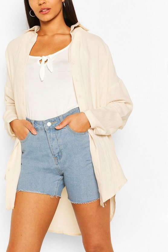 Womens Sand Tall Linen Look Oversized Shirt