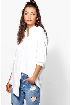Womens White Tall Linen Look Oversized Shirt
