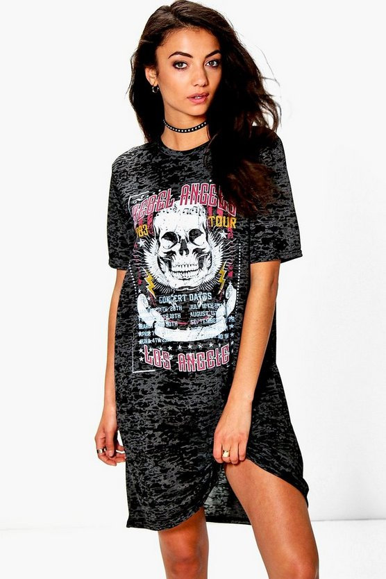 Tall Ruben Burnout Band Oversized T-Shirt Dress