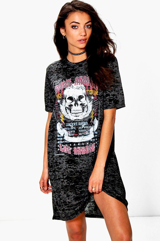 5e8235b5 Womens Black Tall Ruben Burnout Band Oversized T-Shirt Dress. Hover to zoom