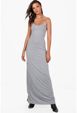Womens Grey marl Tall Cross Back Strappy Maxi Dress