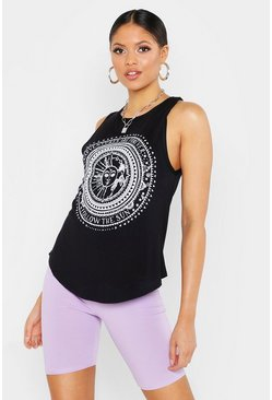 Womens Black Tall Sun And Moon Printed Vest