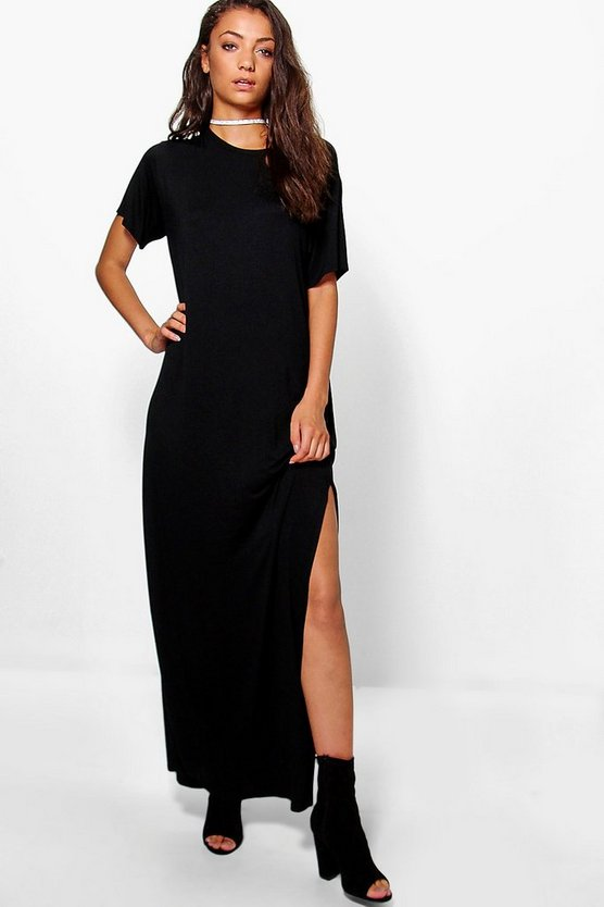 Womens Black Tall Delila Split Side T-Shirt Maxi Dress