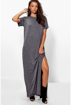 Womens Charcoal Tall Delila Split Side T-Shirt Maxi Dress