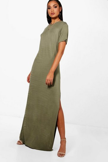 Womens Khaki Tall Delila Split Side T-Shirt Maxi Dress