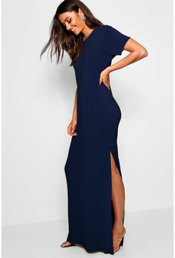 Womens Navy Tall Delila Split Side T-Shirt Maxi Dress