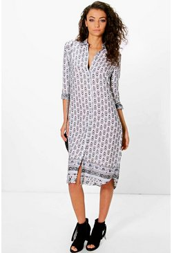 Womens Multi Tall Ola Tonal Woven Print Shirt Dress