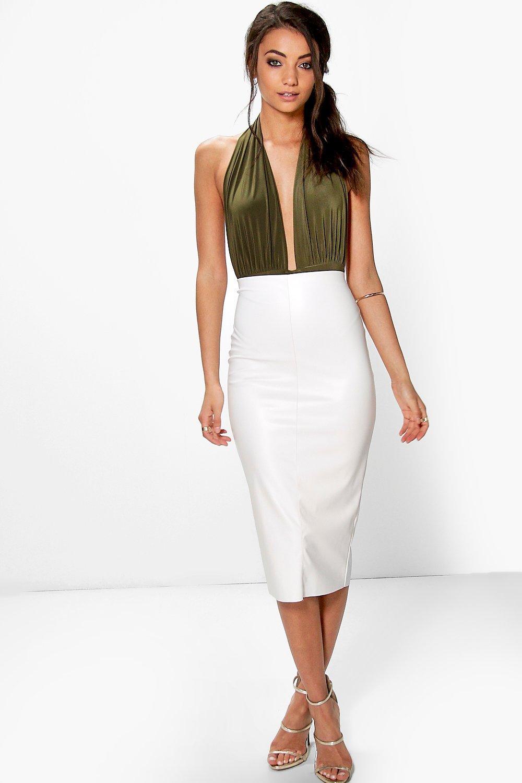 Tall Leather Look Midi Skirt