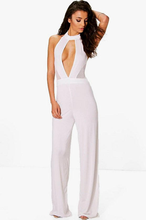 Tall Ana Mesh Cut Out Jumpsuit