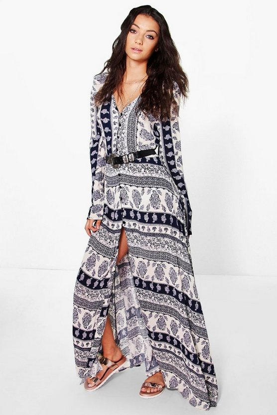 Tall Carla Paisley Printed Button Maxi Dress