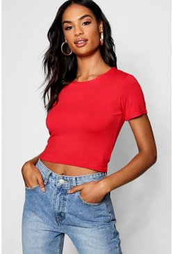 Red Tall Short Sleeve Crop Top