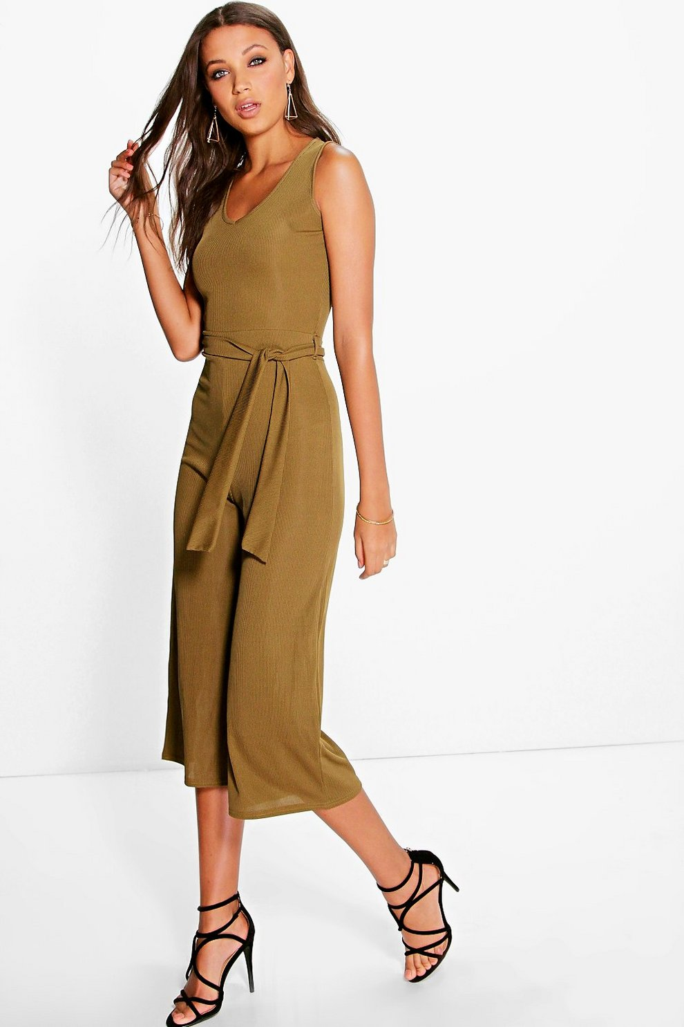 952ef37b025b Tall Naomi Ribbed Tie Front Culotte Jumpsuit