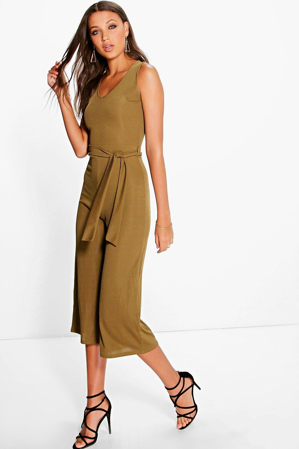 a6189c59422c Tall Naomi Ribbed Tie Front Culotte Jumpsuit
