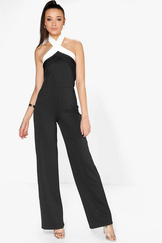 Womens Black Tall Daisy Colour Block Jumpsuit
