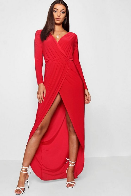 Tall  Slinky Wrap Maxi Dress