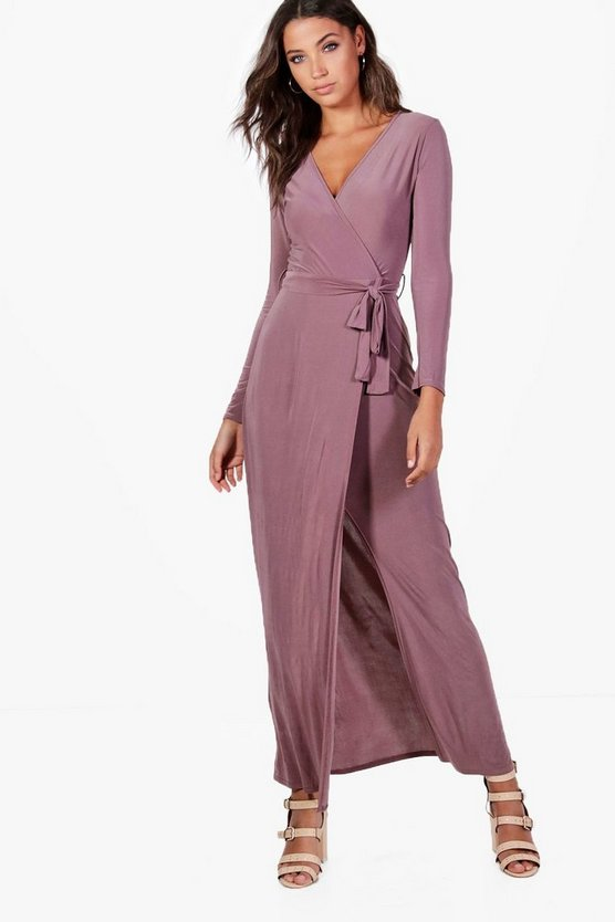 Tall Wrap Front Slinky Maxi Dress