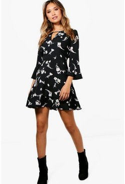 Floral Ruffle Tea Dress, Black
