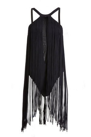 Dramatic fringe one piece swimsuit