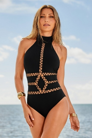High-Neck Laser-Cut One-Piece Swimsuit