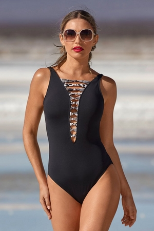 Plunging Twist Inset One-Piece Swimsuit