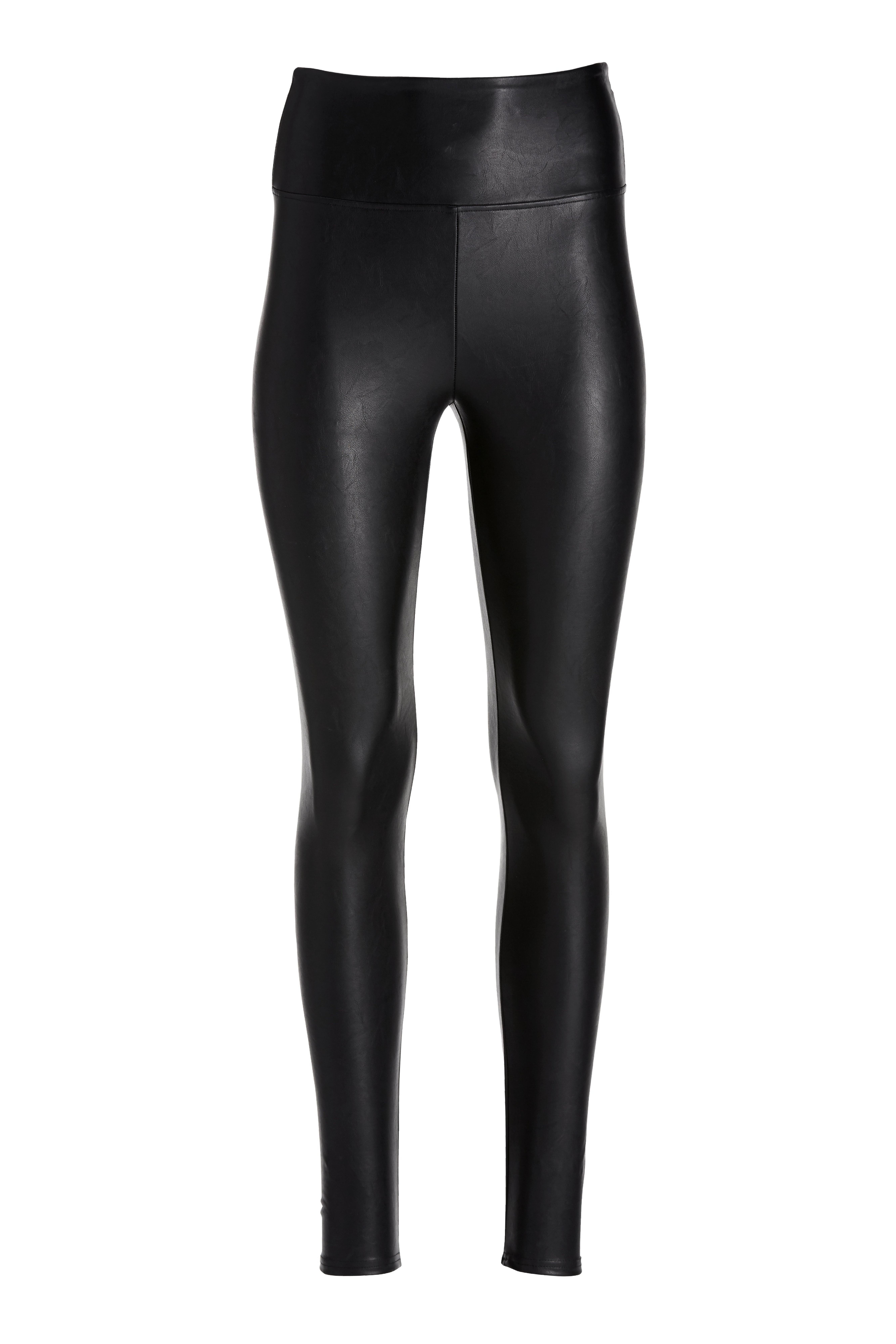 black faux leather leggings.