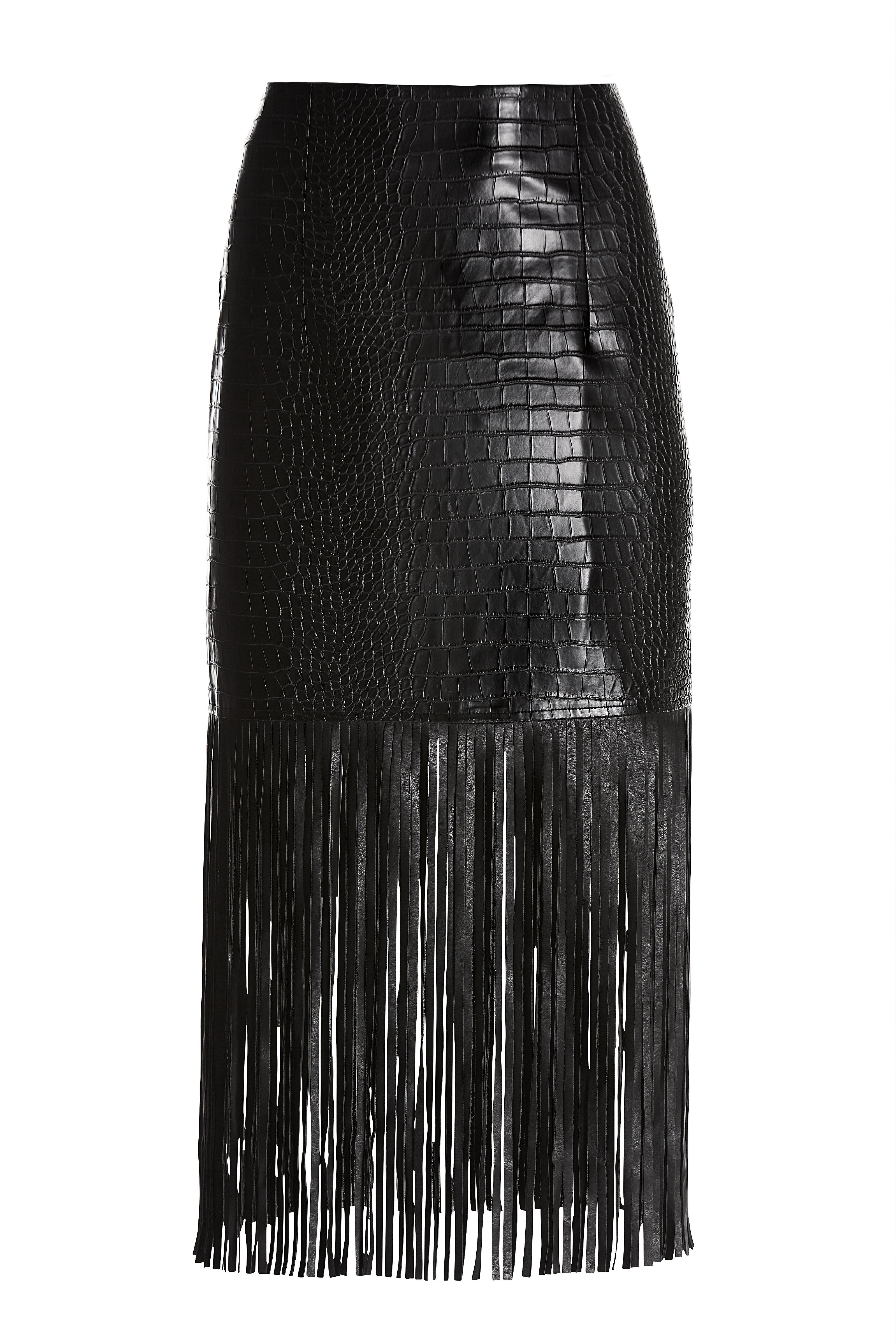black faux leather croc fringe skirt.