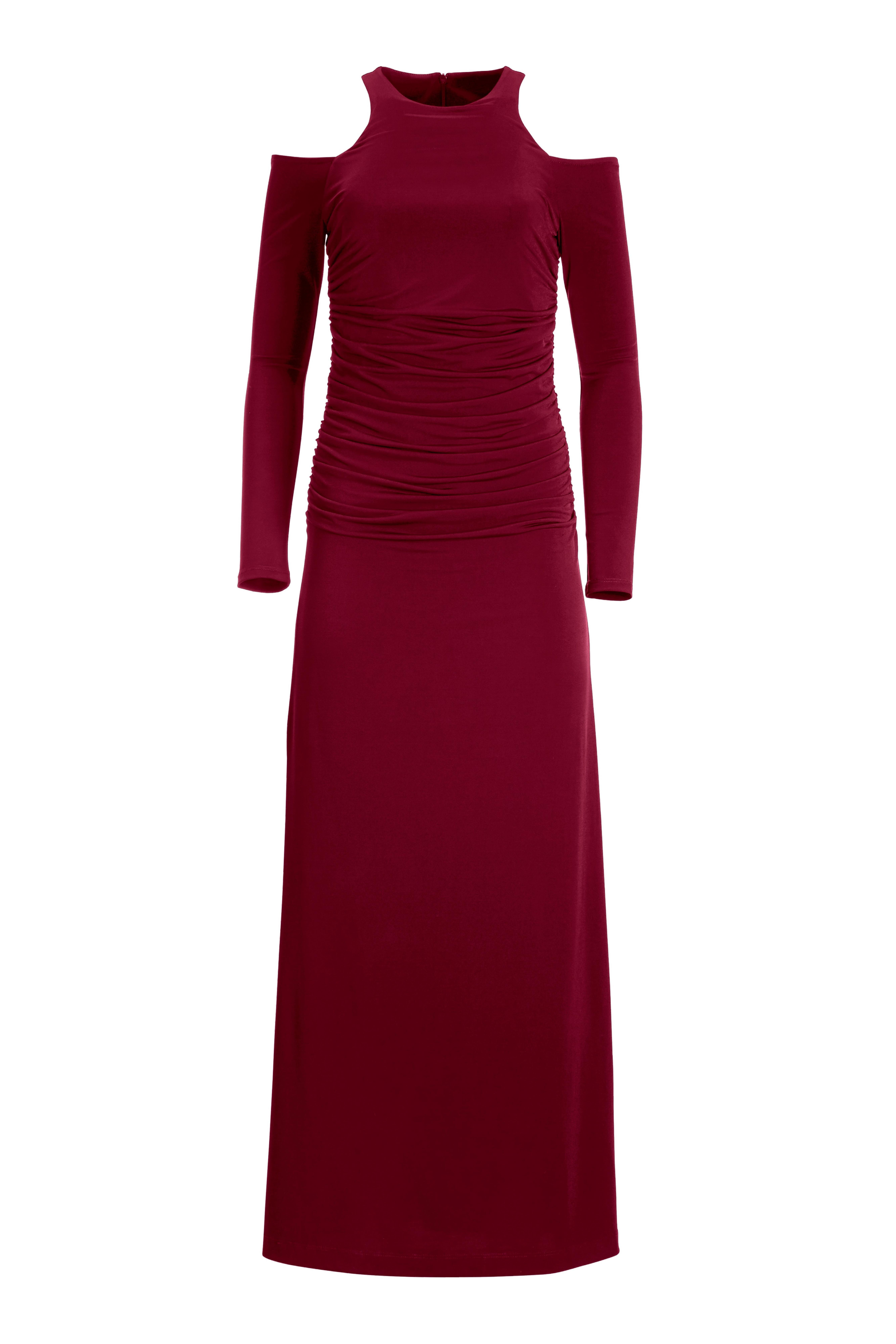high-neck cold-shoulder long sleeve maxi dress in wine.