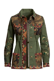 army green jacket with multicolor embroidery.