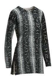 black and white snakeskin print side-slit sweater.