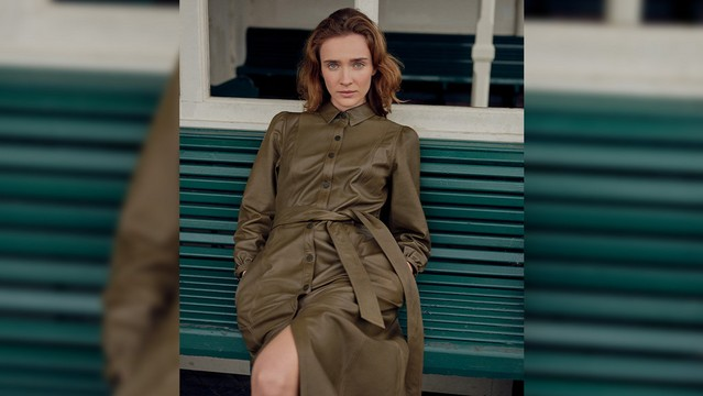 model sitting down wearing a khaki coloured whistles shirt dress