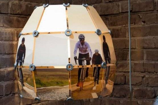 Digitally printed lightshade featuring cyclists