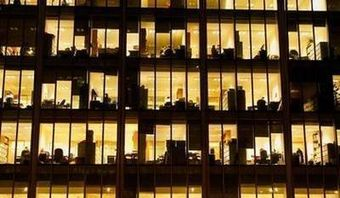 Office at night from outside