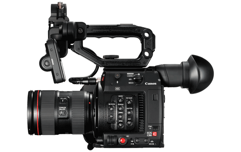 Canon C200 video camera side view with controls