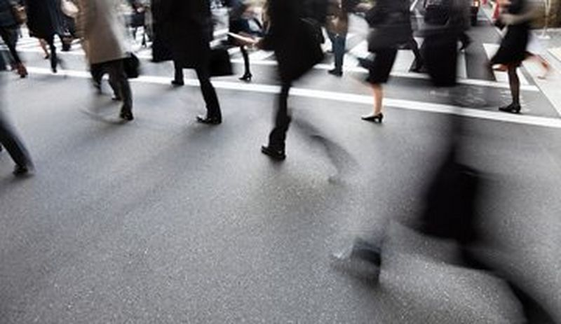 A crowd walking