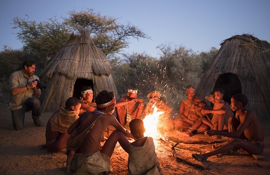 Image from Namibia of Brent Stirton taking picture of the local tribe