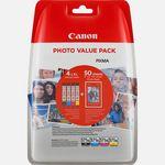 Immagine di Confezione multipla cartucce d'inchiostro a resa elevata Canon CLI-571 XL BK/C/M/Y + carta fotografica